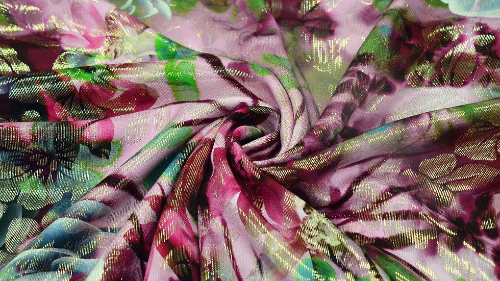 Purple & Pink Fusion Silk Chiffon