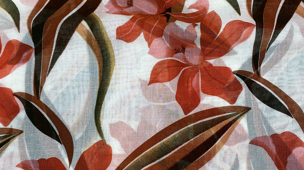 Red Floral Printed Voile