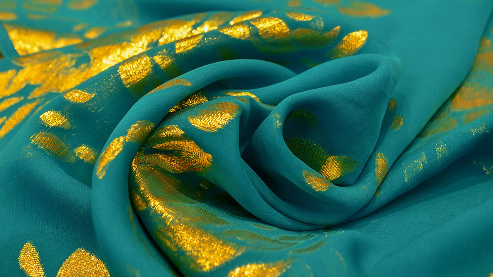Turqoise, Blue and Orange Silk Chiffon