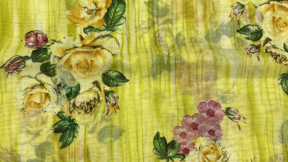 Mellow Yellow Floral Printed Voile