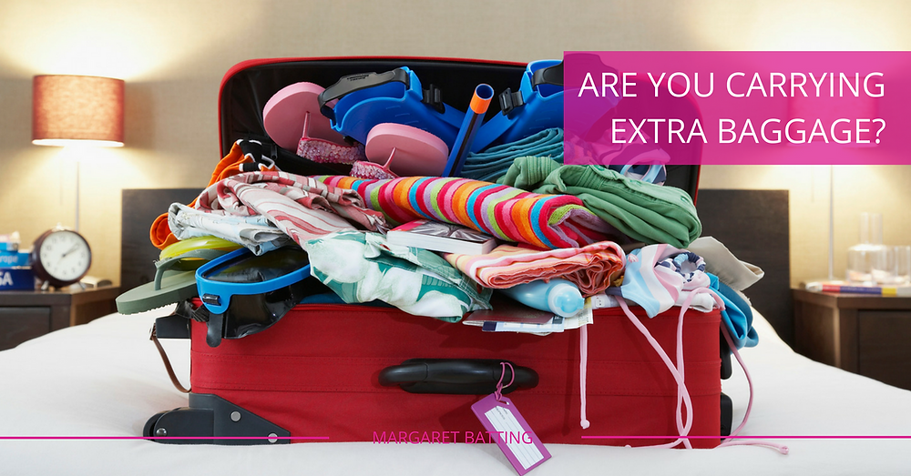 Are you carrying extra baggage? - Stuffed Suit Case On A Bed In A Hotel