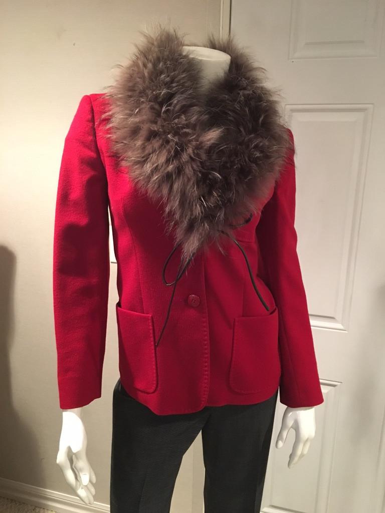 Red Max Mara Jacket with Fur