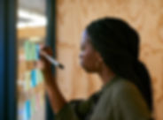 Brainstorming Sticky Notes Woman Office.