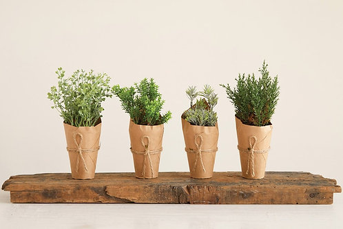 Faux Plants Wrapped in Butcher Paper
