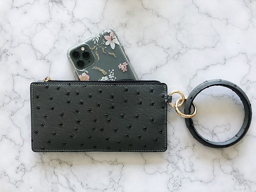 Faux Ostrich Wallet with Keychain
