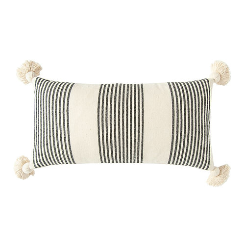 Cotton & Chenille Lumbar Tassel Pillow