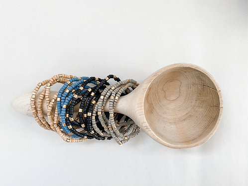 Small Wood Bead Stretch Bracelets