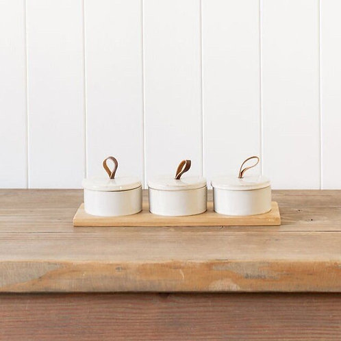 Stoneware Pinch Pots with Leather Loop