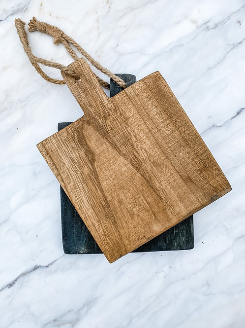 Wood Cutting Board with Jute Tie