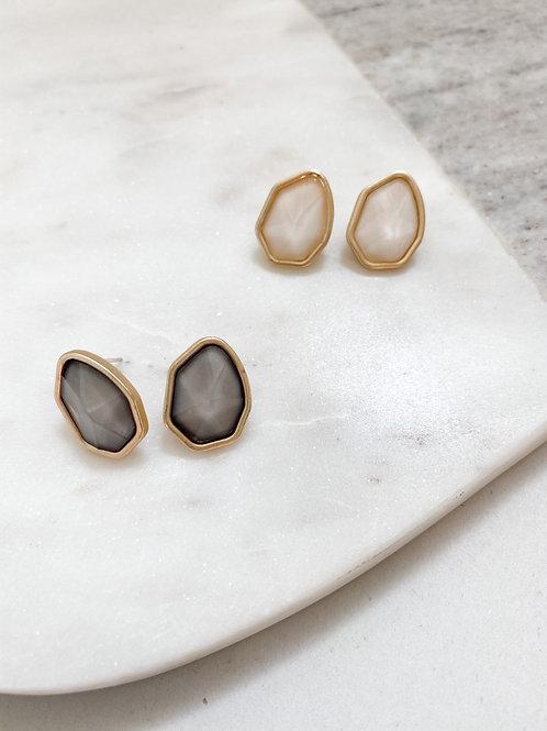 Modern Gemstone Stud Earrings