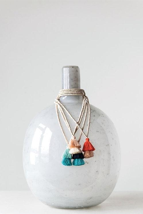 Wood Bead Tassel Necklaces