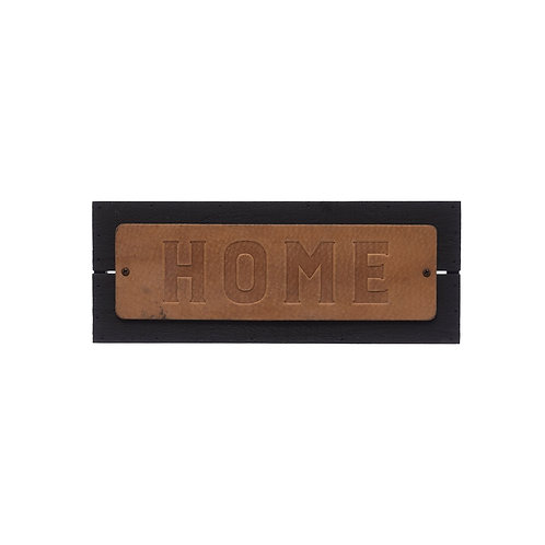 Embossed Leather & Wood HOME Sign