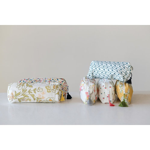 Vintage Floral Zipper Pouch with Tassel