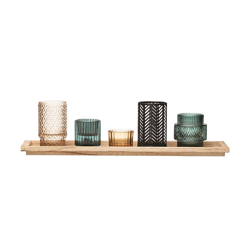 Embossed Glass & Metal Candle Holders with Wood Tray