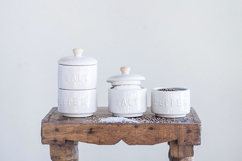 Stoneware Salt & Pepper Pots