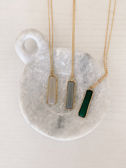 Long Stone Necklace with Marble Dish Gift Bundle