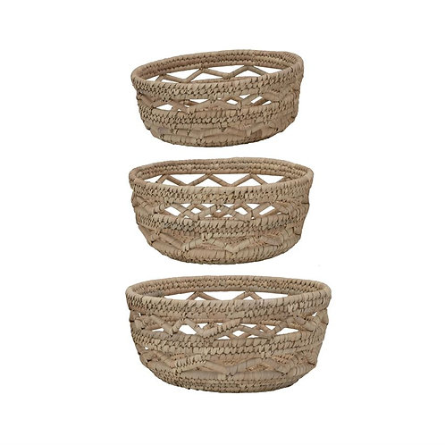 Hand Woven Grass Baskets | Set of 3
