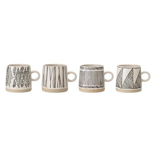 Geometric Embossed Stoneware Mugs