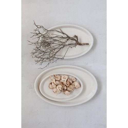 White Stoneware Trays, Set of 3