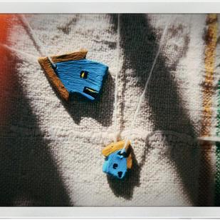 Căsuță albastră din lut 3-5cm