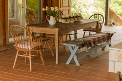 Rustic wood table in the dog-trot