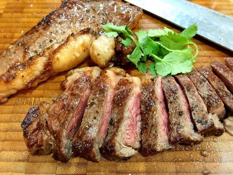 Pan fried sirloin steak