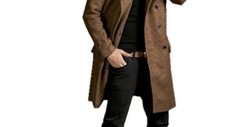 Mid-Length Business Style Trench Coat Classic Solid Color Thick Double-Breasted