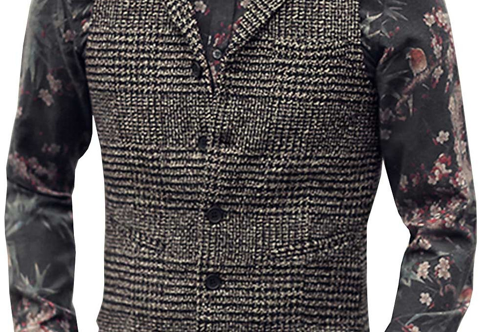 Vest Neck Wool Brown Single-Breasted Casual Formal Business