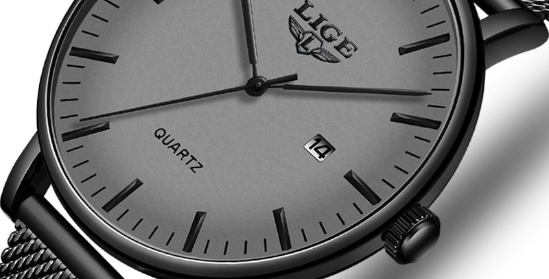 LIGE Fashion Casual Mens Watches  Ultra Thin Stainless Steel Mesh