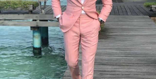 Men Suits Pink Suits 2 Pieces
