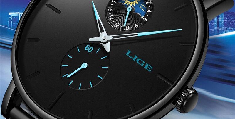 LIGE Quartz Black Waterproof Watch Stainless Steel Ultra Thin