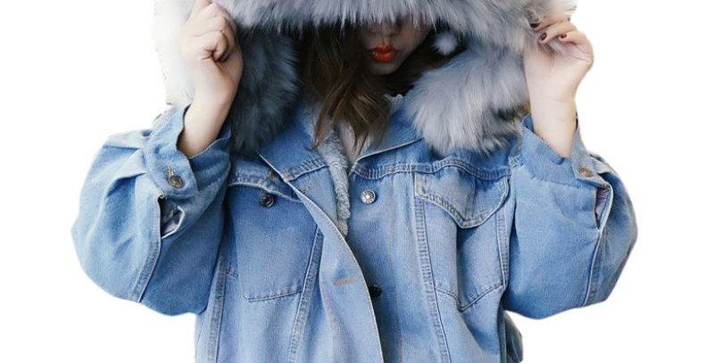 Winter Thick Jean Jacket Faux Fur Collar Women Fleece Hooded Denim