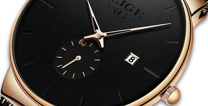 LIGE New Mesh Mens Watches  Luxury Ultra-Thin Quartz Watch Casual Sport