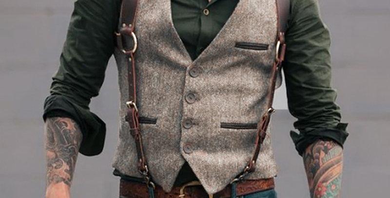 Vintage Men Suit Vest Casual