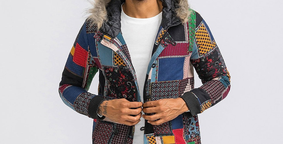 Men Casual Winter Fox Fur Jacket Coats Winter