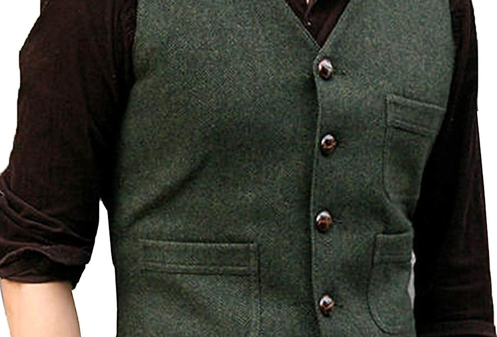 Casual Vest Green/Black/Brown