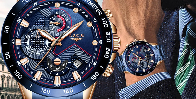 LIGE Men Watches  Luxury Stainless Steel Blue Sport Military Watch