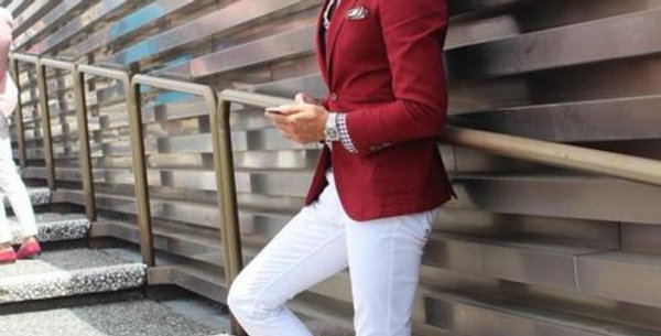 Red Suits With White Pants Custom Suit Prom Man Suits Tuxedo Suits Blazer