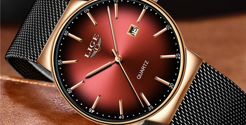 LIGE Luxury Watches Ultra Thin Stainless Steel Waterproof Sports Watch