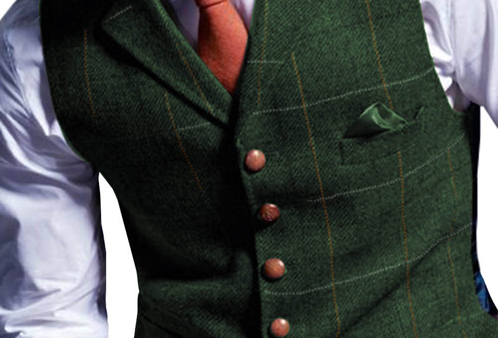 Wool Casual Formal Green/Black/Green/Gray Vest