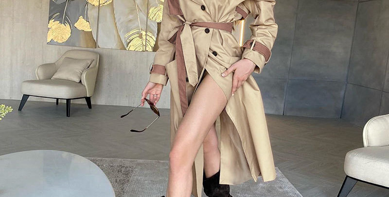 Trench Long Sleeve Double Breasted Belt Female Windbreaker Fall Long Wind Coat