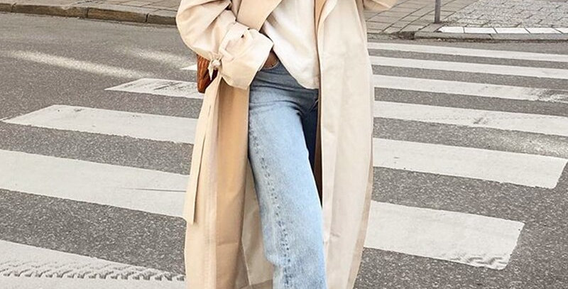 Lace Up Trench Coat Causal Straight Fashion Long Coat