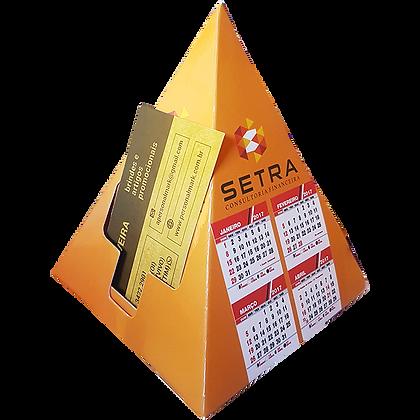 Calendário de mesa porta-cartões pirâmide
