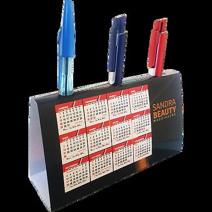 Calendário de mesa porta-canetas horizontal