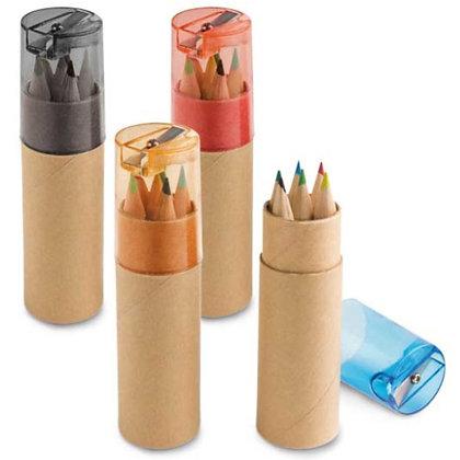 Kit lápis de cor e apontador reciclado