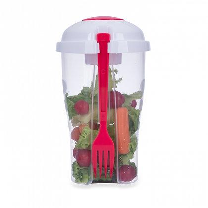 Copo Salada 850ml com Garfo e Suporte para Molho (Cód 13719)