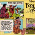"""En 1975, paraît """"Fort Grand-Louis"""", dont l'action se passe au Canada, théâtre de conflits permanents entre Français et Anglais, alliés chacun aux Indiens autochtones, les Hurons et les Iroquois."""