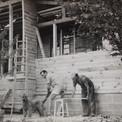 Sous l'œil vigilant du chien Zazou, Pierre et son père, Louis, entreprennent d'agrandir la maison de Saint-Rémy.
