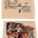 """En 1948, Pierre fait ses premiers essais de mise à la couleur (gouache sur calque). """"Fripounet et Marisette"""" 1948/30"""