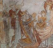 Adoration des Mages, fresque, Gargilesse, Creuse